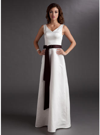 Satin Sleeveless A-Line/Princess Bridesmaid Dresses V-neck Sash Bow(s) Floor-Length