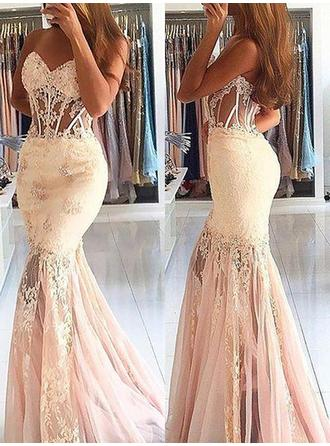 Tulle Sleeveless Trumpet/Mermaid Prom Dresses Sweetheart Lace Beading Sweep Train