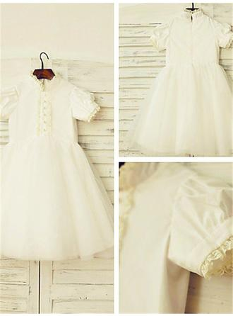 High Neck A-Line/Princess Flower Girl Dresses Satin/Tulle Lace Short Sleeves Tea-length