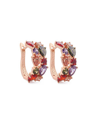 "Earrings Zircon/Rose Gold Plated Pierced Colourful 1.06 ""(Approx.2.7cm) Wedding & Party Jewelry"