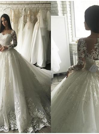 Scoop Ball-Gown Wedding Dresses Tulle Appliques Lace Long Sleeves Court Train