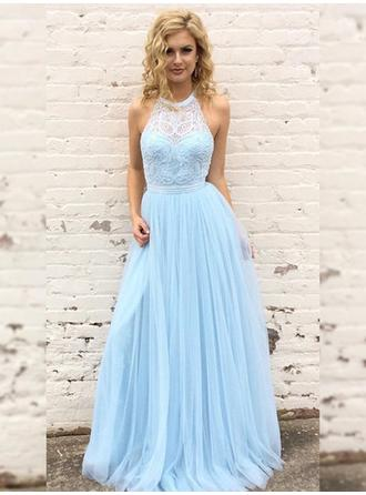 Tulle Sleeveless A-Line/Princess Prom Dresses Scoop Neck Lace Floor-Length