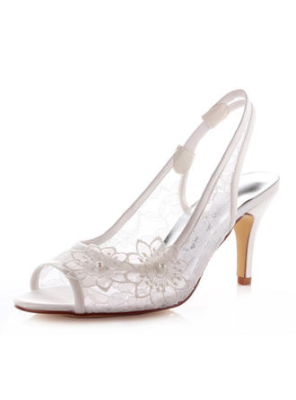 Women's Peep Toe Sandals Slingbacks Stiletto Heel Lace Satin  ...
