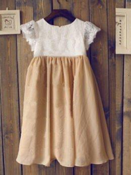 Scoop Neck A-Line/Princess Flower Girl Dresses Pleated Sleeveless Tea-length