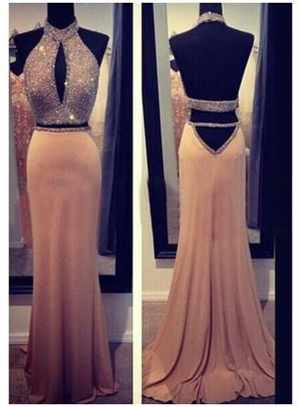 Sheath/Column Halter Sweep Train Chiffon Prom Dress With Beading