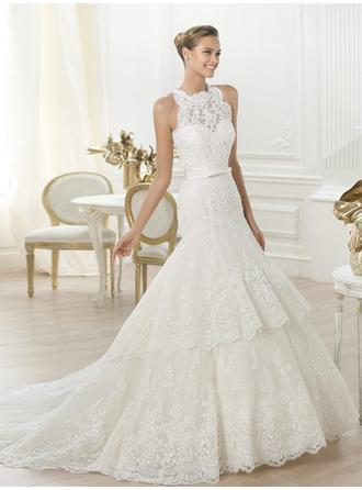 Trumpet/Mermaid Scoop Court Train Wedding Dresses With Lace Sash