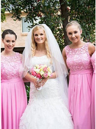 Chiffon Lace Sleeveless A-Line/Princess Bridesmaid Dresses Scoop Neck Ruffle Floor-Length (007144994)