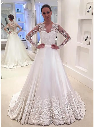 A-Line/Princess V-neck Court Train Wedding Dress With Lace Beading Appliques Lace