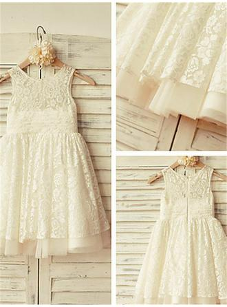Scoop Neck A-Line/Princess Flower Girl Dresses Lace Pleated Sleeveless Knee-length