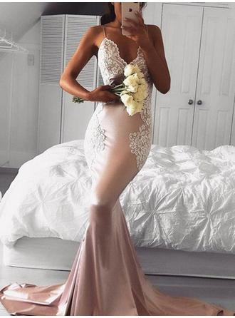 Modern Silk Like Satin Prom Dresses Trumpet/Mermaid Sweep Train V-neck Sleeveless