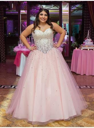 Ball-Gown Tulle Prom Dresses Luxurious Floor-Length Sweetheart Sleeveless