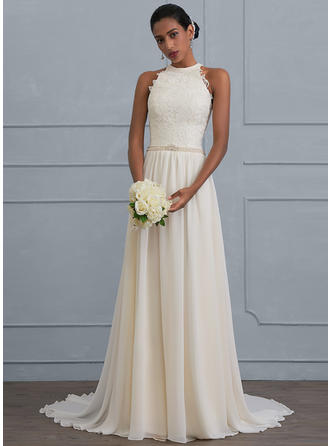 A-Line/Princess Halter Sweep Train Chiffon Wedding Dress With Beading