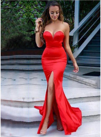 2019 New Charmeuse Prom Dresses Trumpet/Mermaid Sweep Train Sweetheart Sleeveless