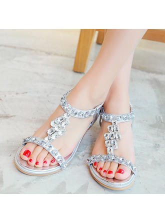 Women's Sandals Low Heel Leatherette With Buckle Rhinestone Wedding Shoes