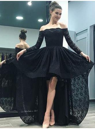Sexy Lace Prom Dresses A-Line/Princess Asymmetrical Sweep Train Off-the-Shoulder Long Sleeves