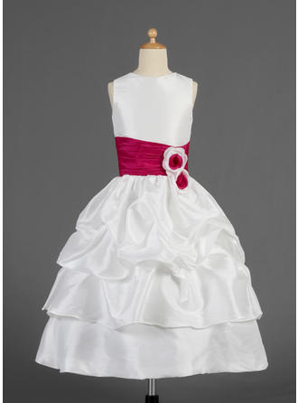 A-Line/Princess Scoop Neck Tea-length With Ruffles/Sash/Flower(s)/Pick Up Skirt Taffeta Flower Girl Dress