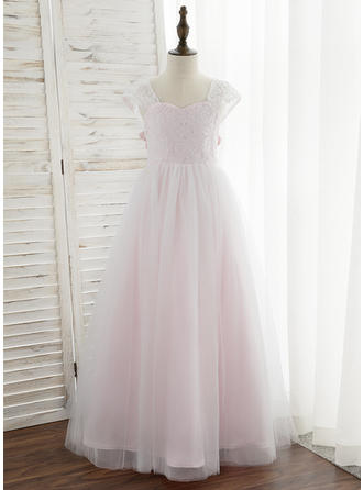 Floor-length Sleeveless Tulle/Lace With Simple Flower Girl Dresses