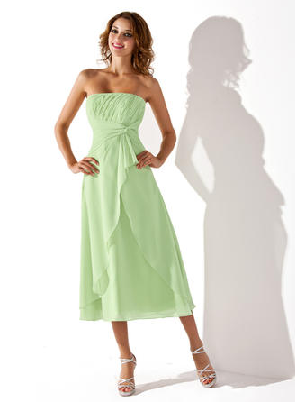 Empire Chiffon Bridesmaid Dresses Cascading Ruffles Strapless Sleeveless Tea-Length