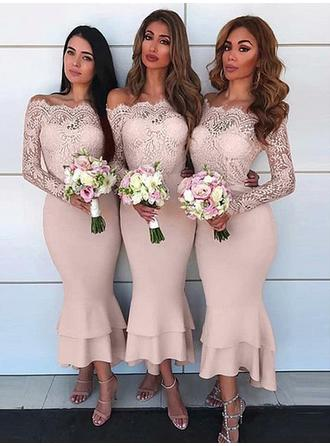 Sheath/Column Stretch Crepe Bridesmaid Dresses Lace Off-the-Shoulder Long Sleeves Ankle-Length