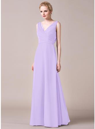V-neck A-Line/Princess Chiffon Sleeveless Bridesmaid Dresses