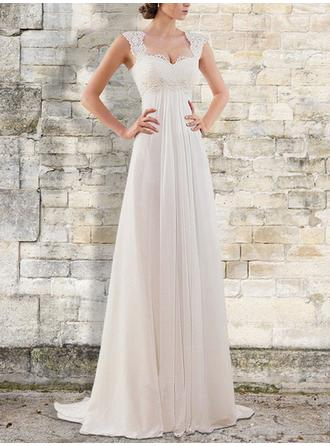 V-neck Square Empire Wedding Dresses Chiffon Ruffle Lace Sleeveless Sweep Train (002218626)
