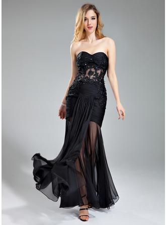 Trumpet/Mermaid Sweetheart Chiffon Sleeveless Floor-Length Ruffle Beading Appliques Lace Evening Dresses