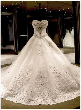 Elegant Royal Train Beading Appliques Sequins Bow(s) With Tulle Lace Wedding Dresses