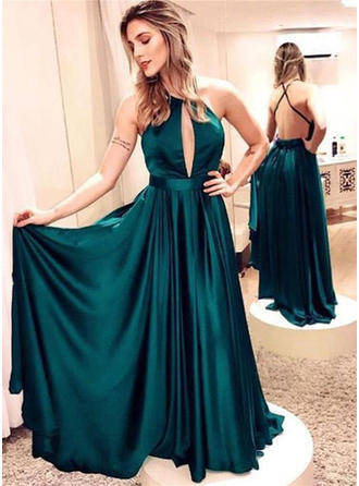 A-Line/Princess Satin Prom Dresses Delicate Floor-Length Scoop Neck Sleeveless