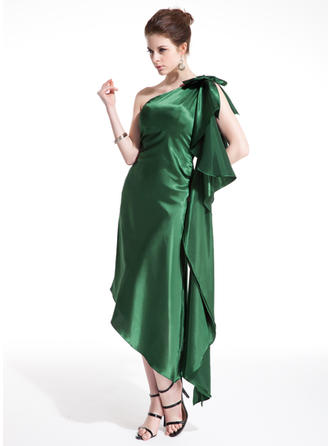 Sheath/Column One-Shoulder Asymmetrical Charmeuse Cocktail Dress With Bow(s) Cascading Ruffles