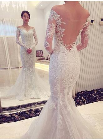 Trumpet/Mermaid Tulle Lace Long Sleeves Off-The-Shoulder Chapel Train Wedding Dresses