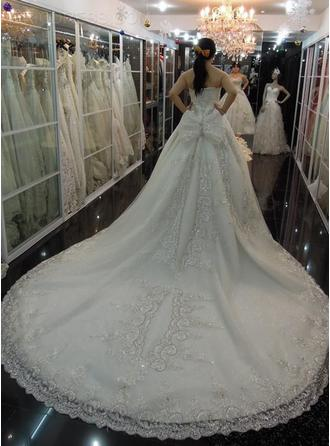 Ball-Gown Strapless Floor-Length Cathedral Train Wedding Dress With Lace Beading Appliques Lace Sequins Bow(s)