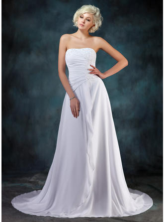 A-Line/Princess Sweetheart Court Train Chiffon Wedding Dress With Beading Appliques Lace Cascading Ruffles