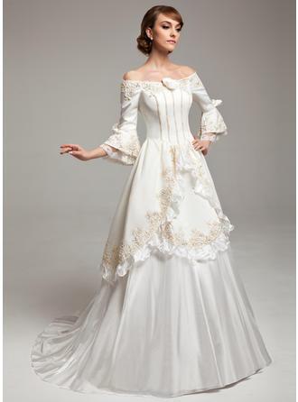 A-Linie/Princess-Linie Off-the-Schulter Sweep/Pinsel zug Satin Taft Brautkleid mit Lace Perlstickerei Blumen