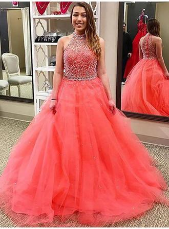 Ball-Gown Halter Tulle Sleeveless Floor-Length Beading Evening Dresses