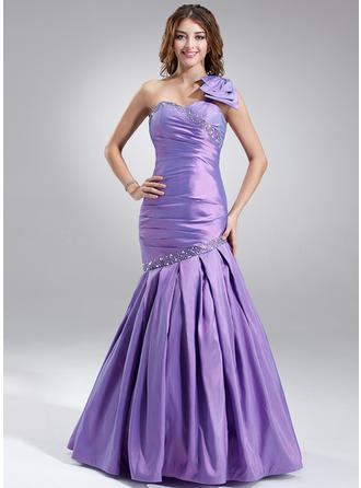 Trumpet/Mermaid Taffeta Sexy Floor-Length One-Shoulder Sleeveless