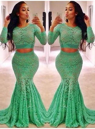 Lace Long Sleeves Trumpet/Mermaid Prom Dresses Scoop Neck Ruffle Beading Sweep Train