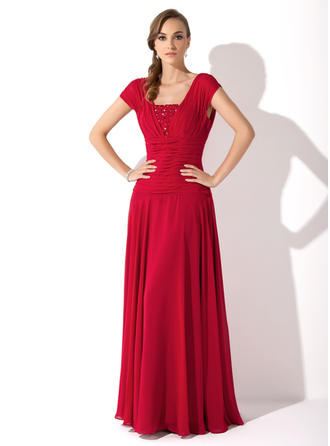 A-Line/Princess Square Neckline Chiffon Sleeveless Floor-Length Ruffle Beading Mother of the Bride Dresses (008006086)