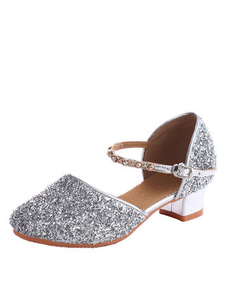 Kids' Ballroom Swing Heels Leatherette Sparkling Glitter Dance Shoes