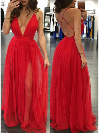Tulle Sleeveless A-Line/Princess Prom Dresses V-neck Floor-Length