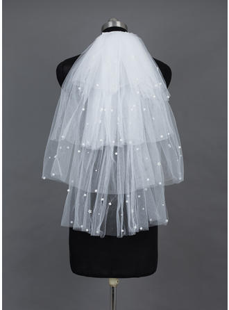 Elbow Bridal Veils Tulle Four-tier Cascade With Cut Edge Wedding Veils