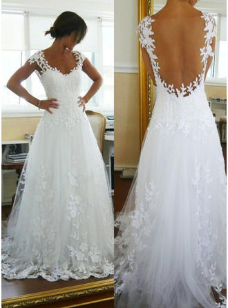 A-Line/Princess V-neck Court Train Wedding Dress With Appliques Lace