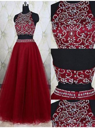 A-Line/Princess Scoop Neck Floor-Length Evening Dresses With Beading