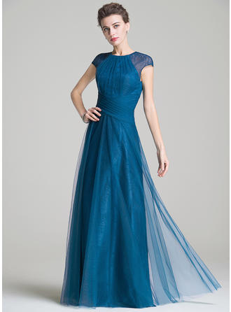 A-Line/Princess Tulle Sleeveless Scoop Neck Floor-Length Zipper Up Mother of the Bride Dresses