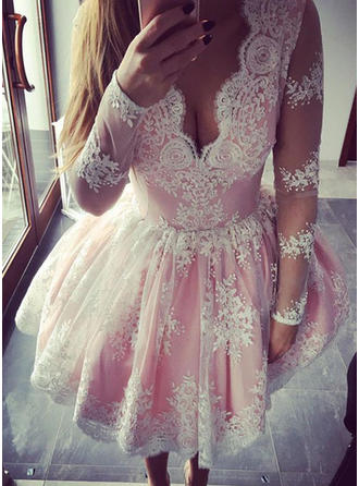 A-Line/Princess V-neck Lace Long Sleeves Short/Mini Ruffle Homecoming Dresses