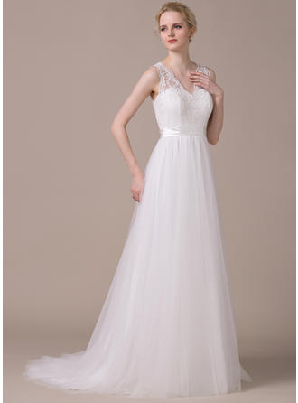 Fashion Sweep Train A-Line/Princess Wedding Dresses Sweetheart Tulle Sleeveless