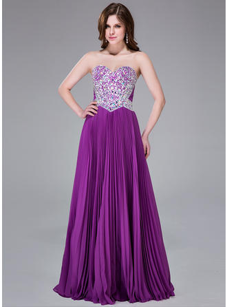 Elegant A-Line/Princess Chiffon Floor-Length Sleeveless Prom Dresses