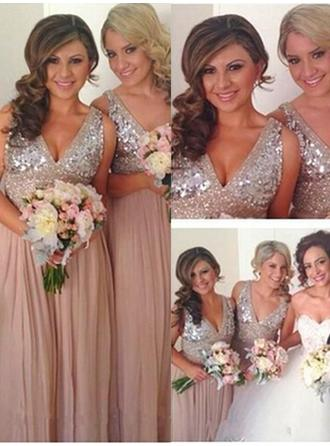 A-Line/Princess V-neck Floor-Length Chiffon Sequined Bridesmaid Dress