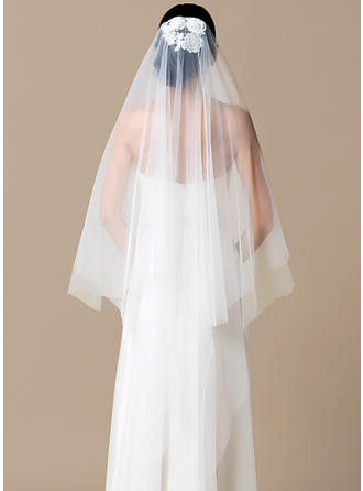 Chapel Bridal Veils Tulle One-tier Classic With Cut Edge Wedding Veils