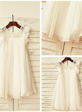Scoop Neck A-Line/Princess Flower Girl Dresses Chiffon Lace Short Sleeves Tea-length