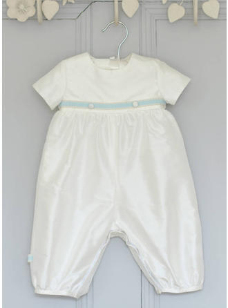 Satin Scoop Neck Baby Boy's Christening Outfits With Short Sleeves
